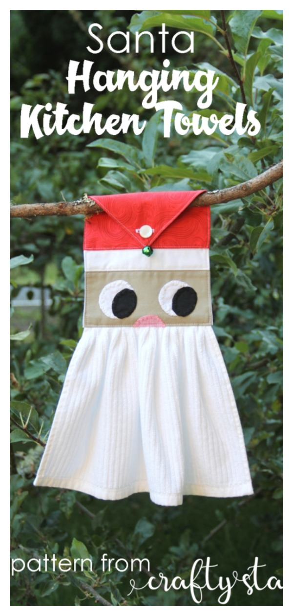 Christmas Santa Hanging Kitchen Towels Free Sewing Pattern
