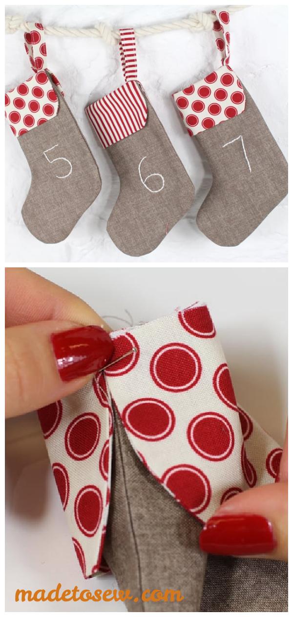 Mini Stocking Advent Calendar Free Sewing Pattern
