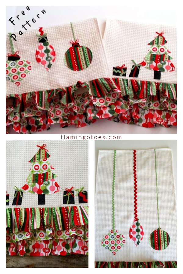 Retro Christmas Dishcloths Free Sewing Pattern