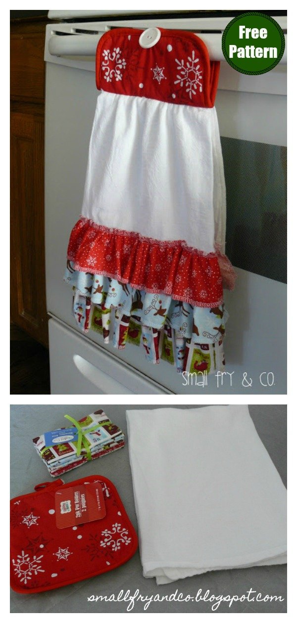 Ruffle Front Christmas Dish Towel Free Sewing Pattern