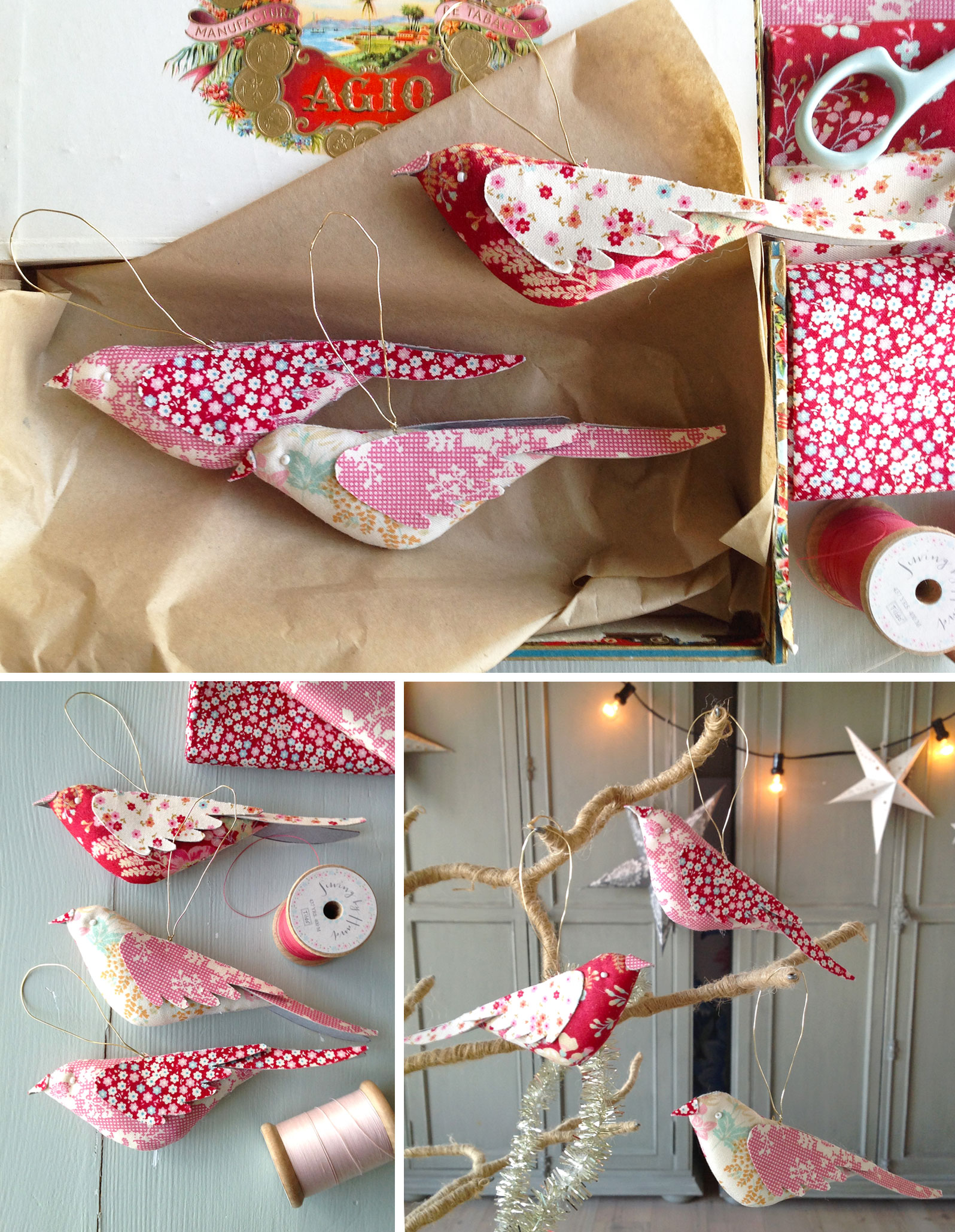 Christmas Bird Ornament Free Sewing Pattern