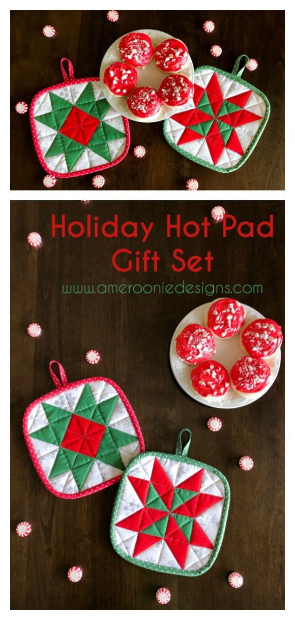 Christmas Holiday Hot Pad Gift Set Free Sewing Pattern