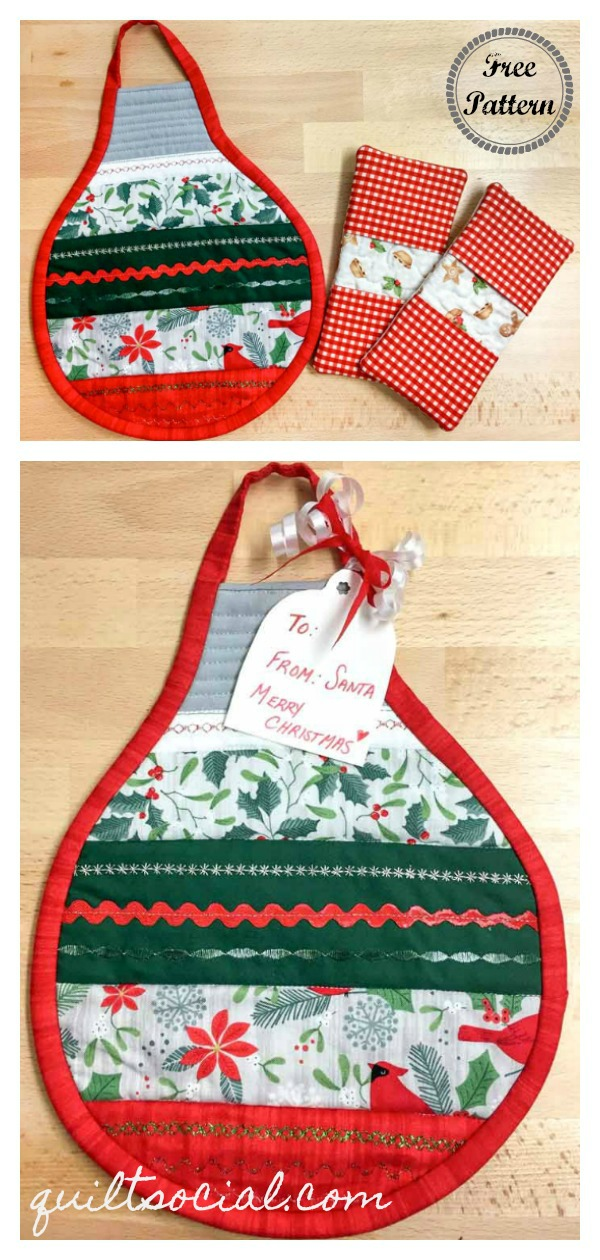 Christmas Ornaments Hot Pad Gift Set Free Sewing Pattern