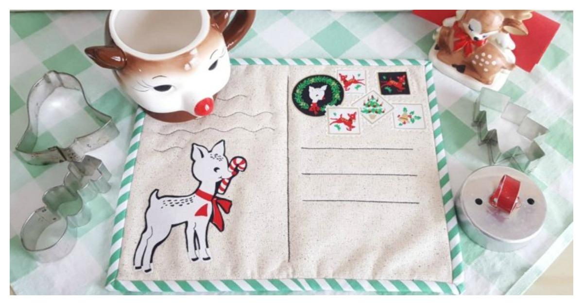 Christmas Postcard Mug Rugs Free Sewing Pattern