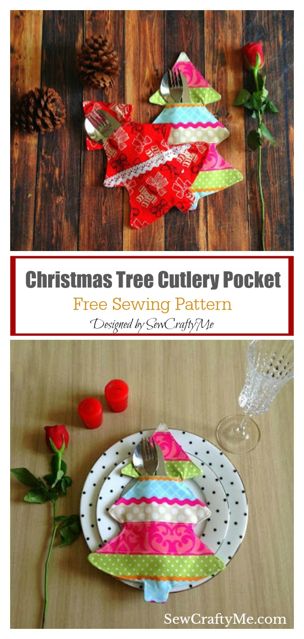 Christmas Tree Cutlery Pocket Free Sewing Pattern