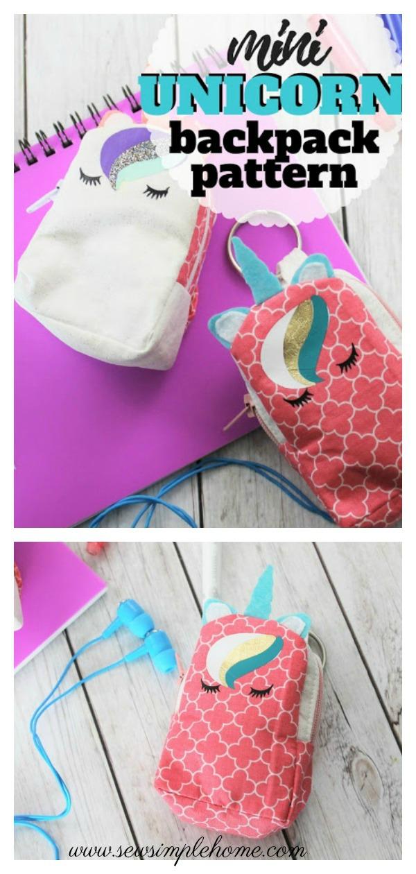 Mini Unicorn Backpack Keychain Free Sewing Pattern