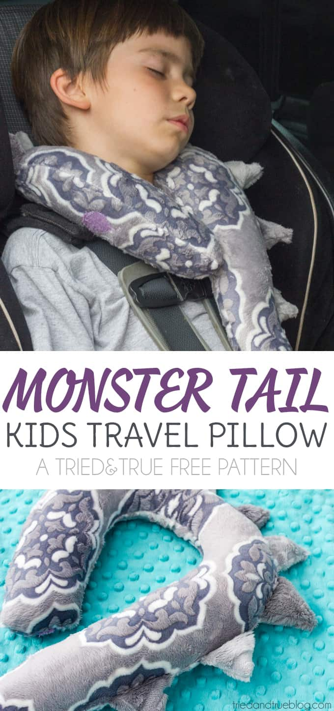 Monster Tail Kids Travel Pillow Free Sewing Pattern