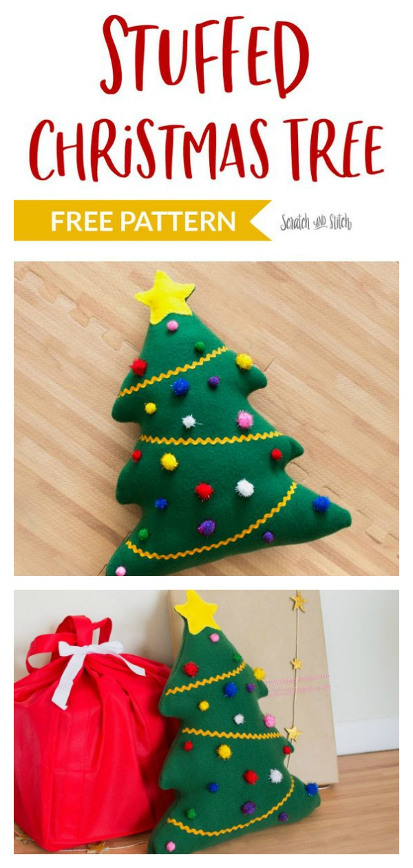 Stuffed Christmas Tree Pillows Free Sewing Pattern