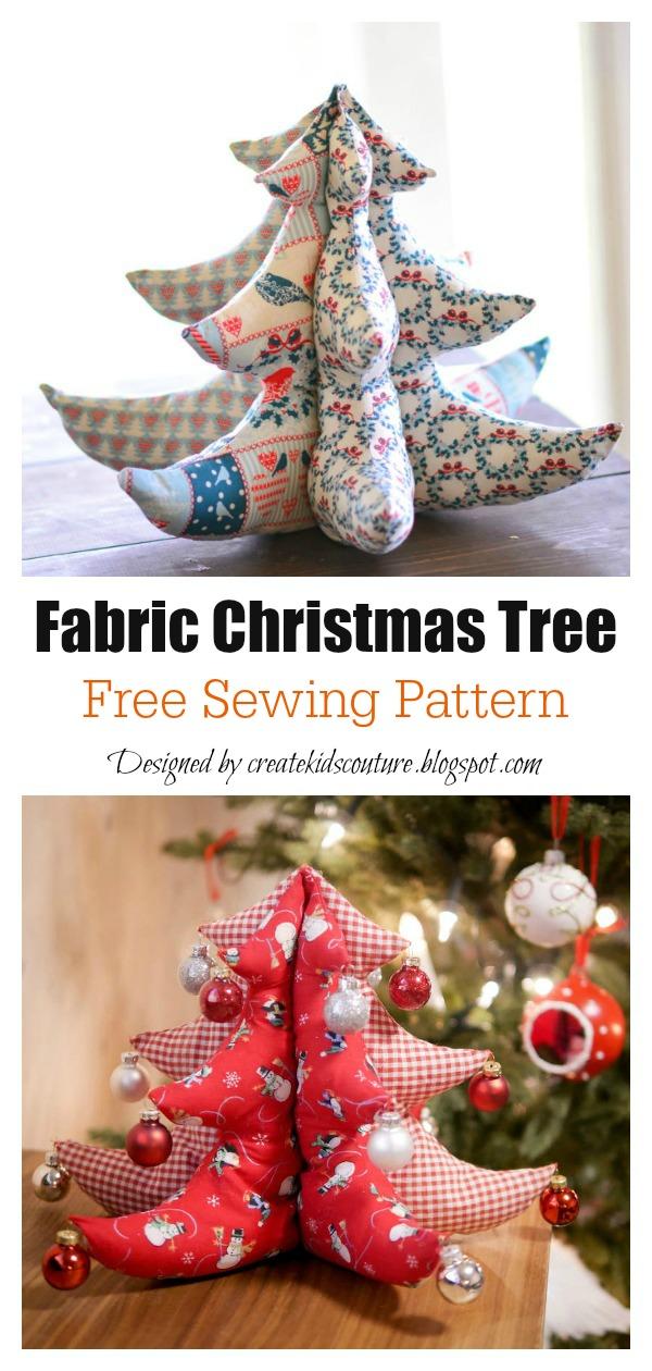 Stuffed Fabric Christmas Tree Free Sewing Pattern