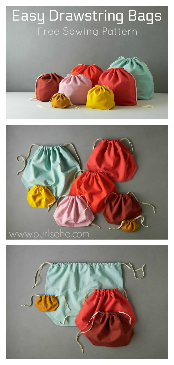 Easy Drawstring Bags Free Sewing Pattern