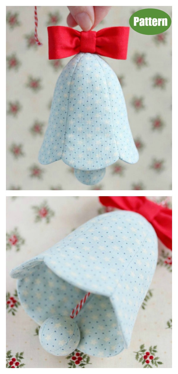 Fabric Christmas Bell Ornament Sewing Pattern