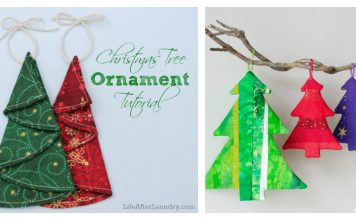 Fabric Christmas Tree Ornament Free Sewing Pattern