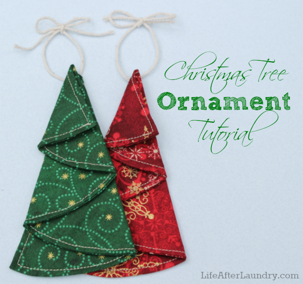 Origami Folded Fabric Christmas Tree Ornament Free Sewing Pattern