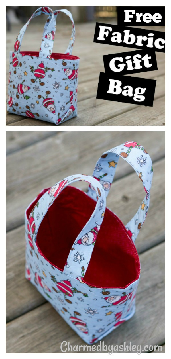 Reusable Fabric Gift Bag Free Sewing Pattern