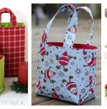 Reusable Fabric Gift Bag Free Sewing Pattern and Paid