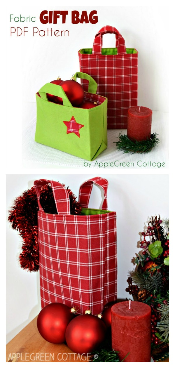 Reusable Fabric Gift Bag Sewing Pattern