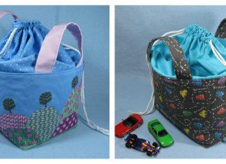Fabric Basket with Drawstring Top Free Sewing Pattern