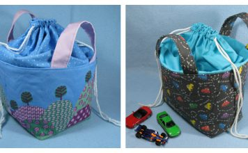 Fabric Basket with Drawstring Top Free Sewing Pattern