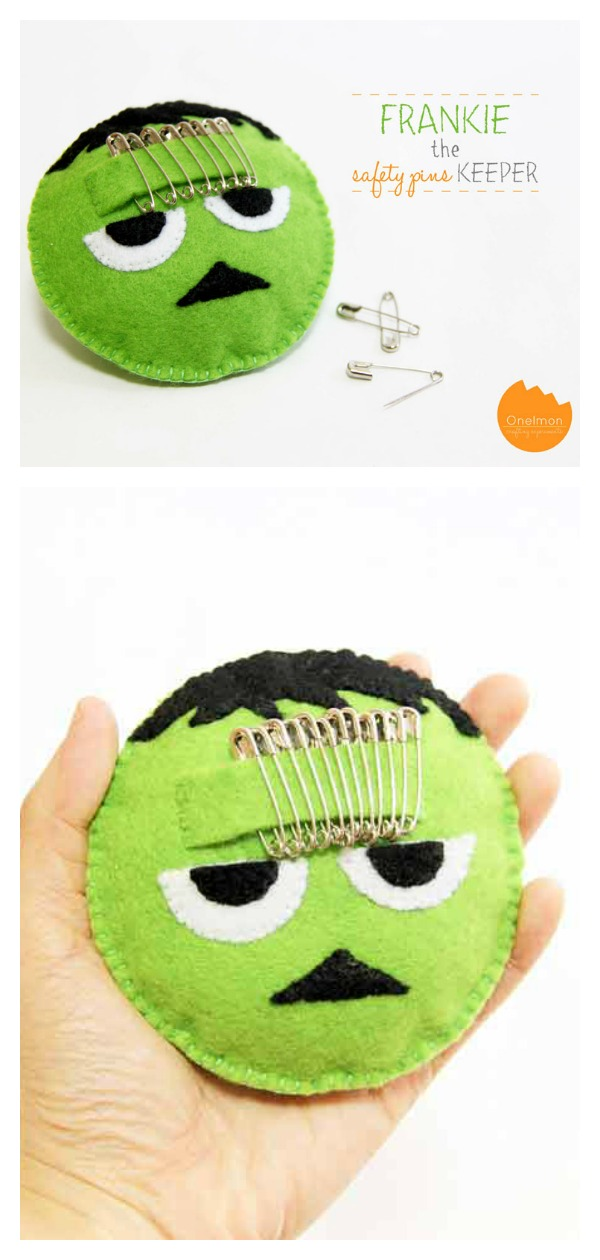 Felt Frankenstein Safety Pin Pincushion Free Sewing Pattern