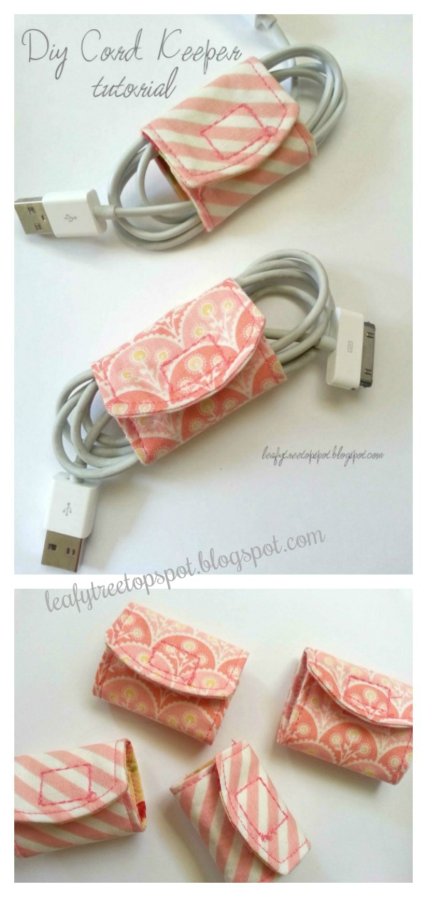 Easy Fabric Scraps Cord Keeper Free Sewing Pattern