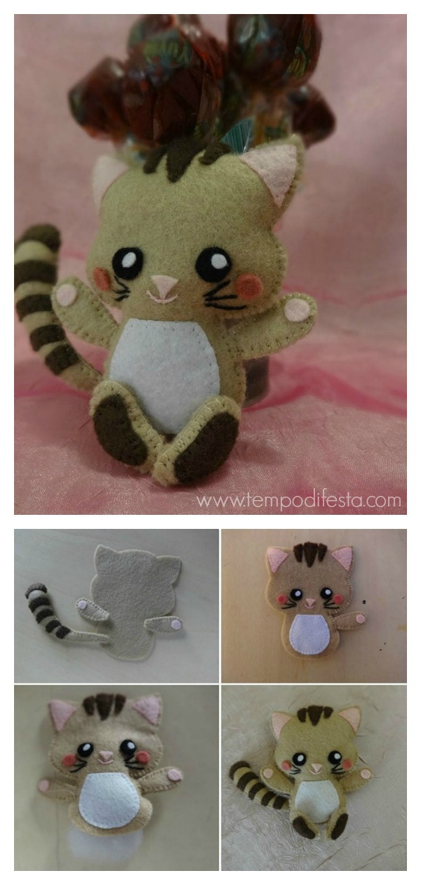 Felt Kitten Cat Free Sewing Pattern and Template