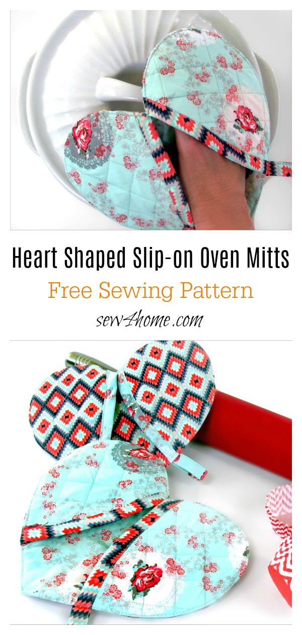 Heart Shaped Slip-on Oven Mitts Free Sewing Pattern