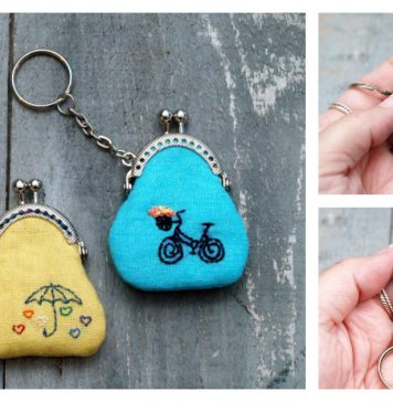 Mini Embroidered Key Chain Coin Purse Free Sewing Pattern