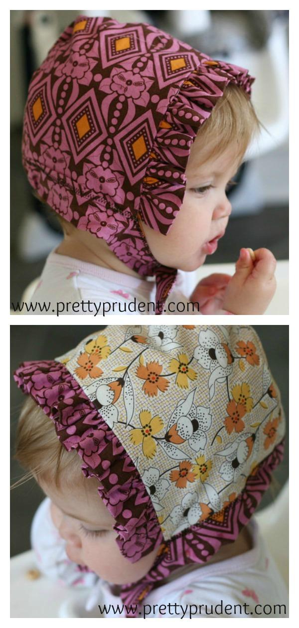 Reversible Baby Bonnet Free Sewing Pattern