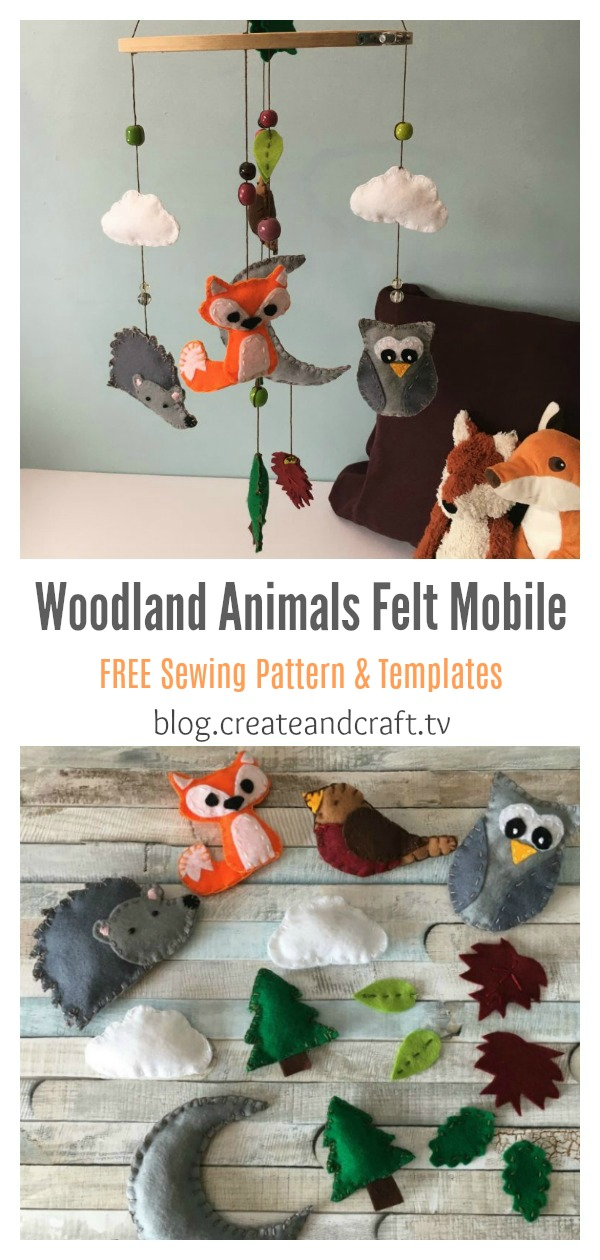 Woodland Animals Felt Mobile FREE Sewing Pattern and Templates