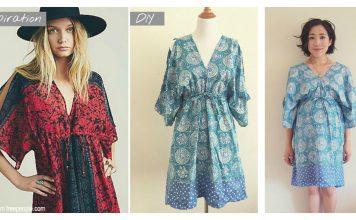 Boho Kimono Dress Free Sewing Pattern
