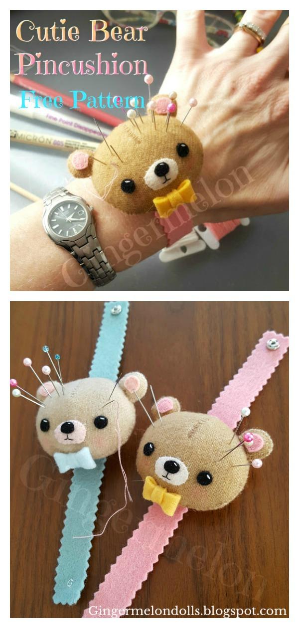 Cutie Bear Wrist Pincushion Free Sewing Pattern