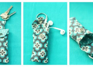 Ear Bud Pouch Keychain Free Sewing Pattern
