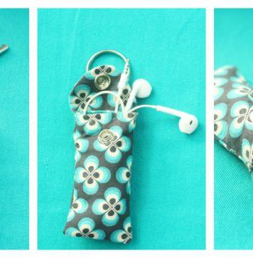 Ear Bud Pouch Keychain Free Sewing Pattern
