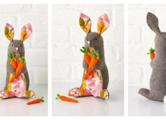 Felt Rabbit Free Sewing Pattern and Template