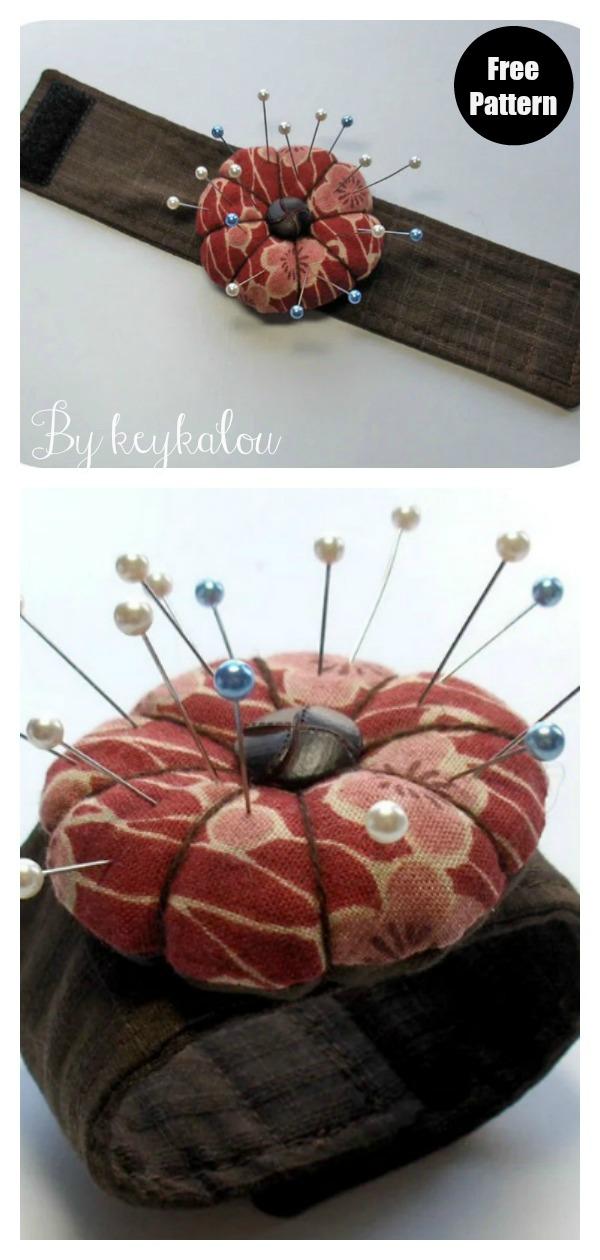 Flower Wrist Pincushion Cuff Free Sewing Pattern