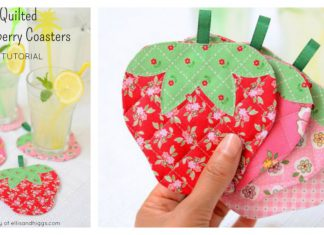 Quilted Strawberry Coaster Free Sewing Pattern