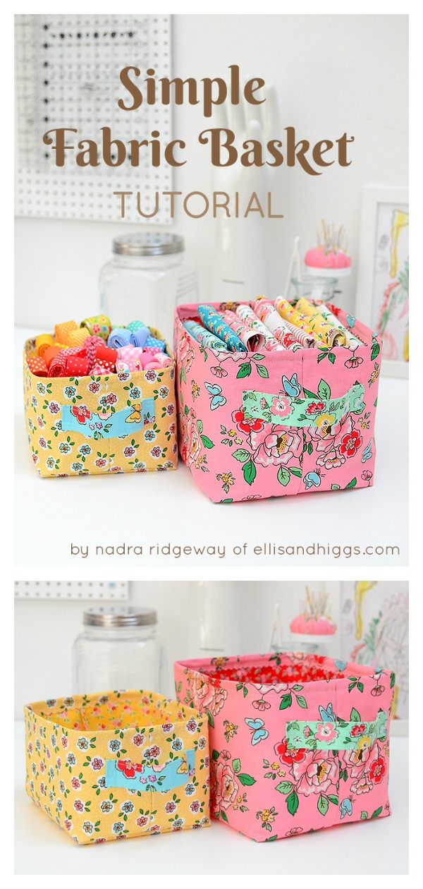 Simple Fabric Basket Free Sewing Pattern