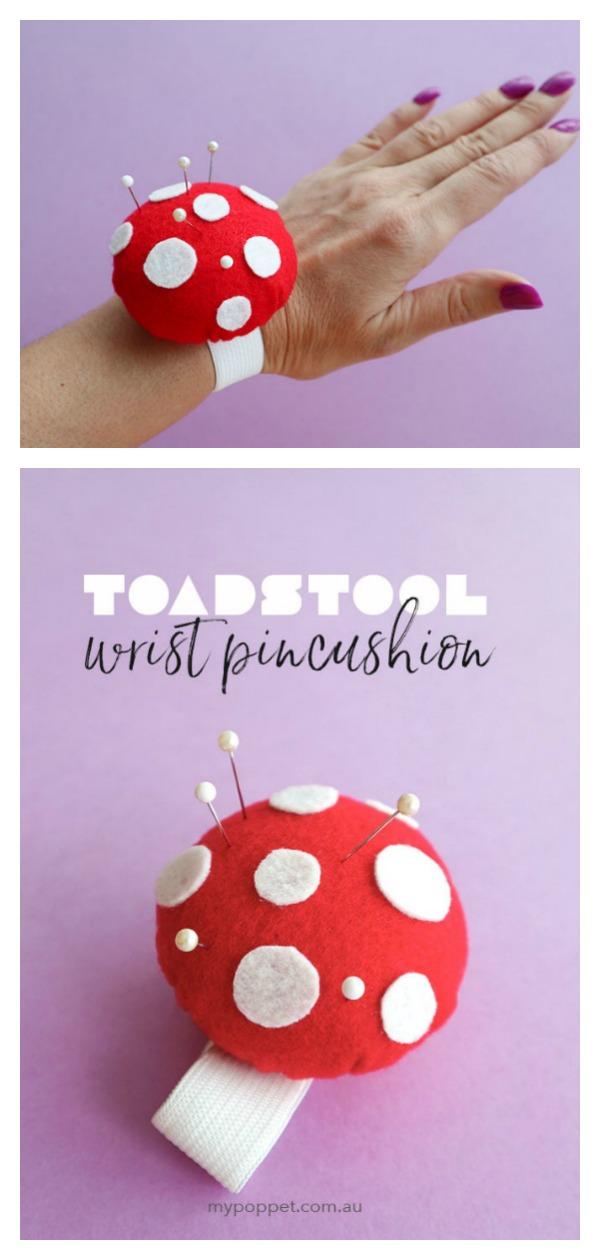 Toadstool Wrist Pincushion Free Sewing Pattern