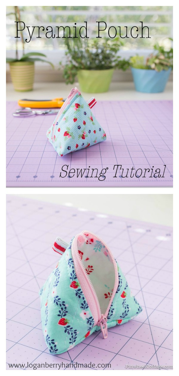 Triangle Zipper Bag Pyramid Pouch Free Sewing Pattern