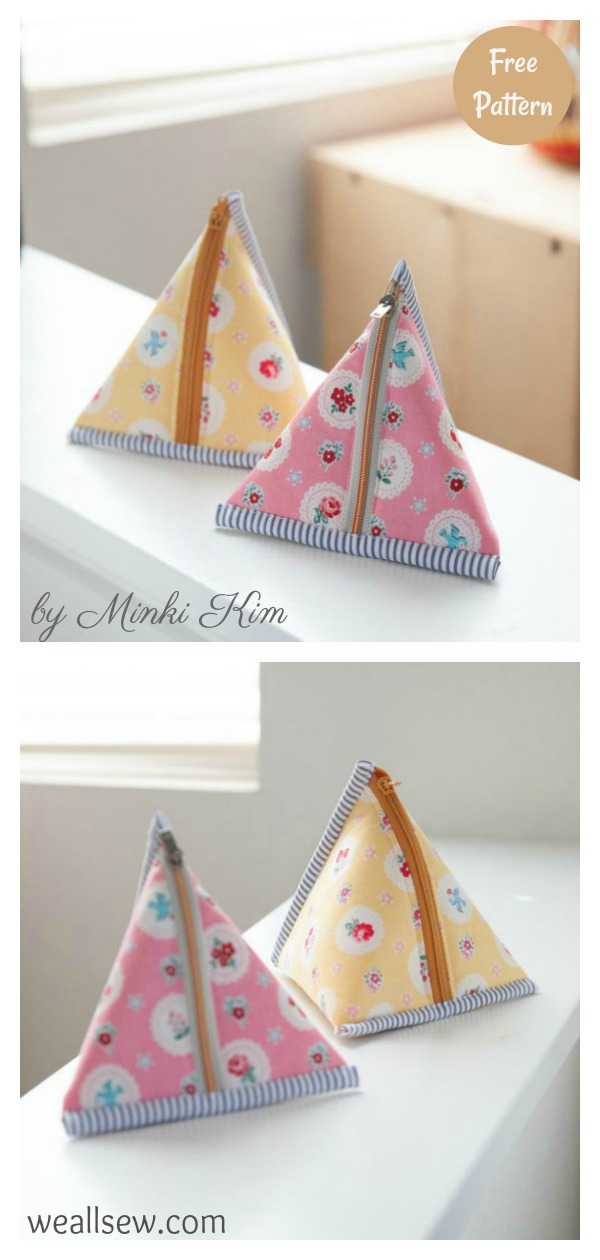 Triangle Zipper Pouch Free Sewing Pattern
