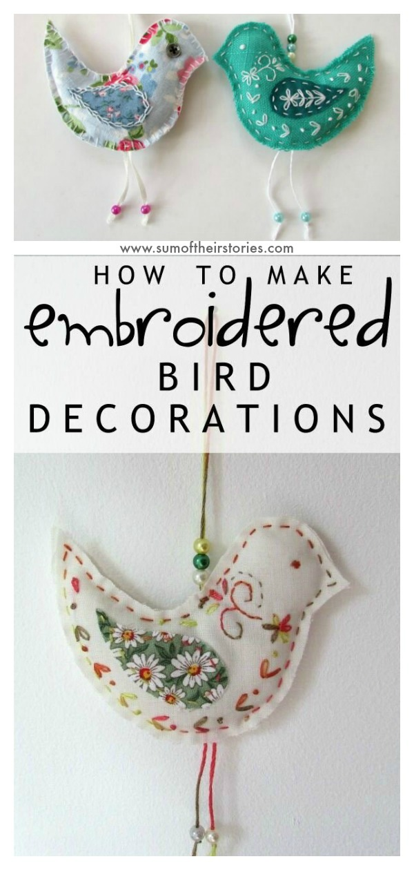 Embroidered Hanging Bird Free Sewing Pattern