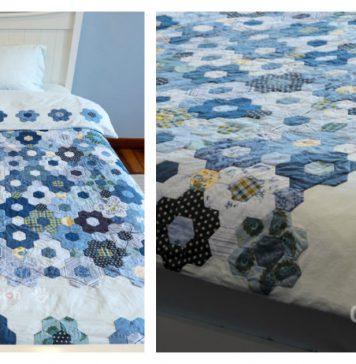 Hexagon Flower Quilt Duvet Free Sewing Pattern
