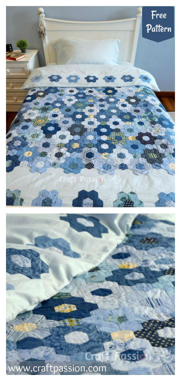 Hexagon Flower Quilt Duvet Free Sewing Pattern