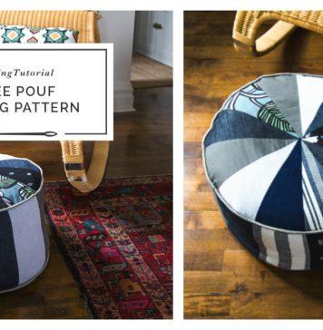 Patchwork Pouf Ottoman Free Sewing Pattern