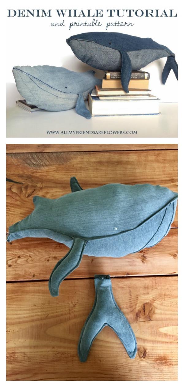 Repurposed Denim Whale Free Sewing Pattern