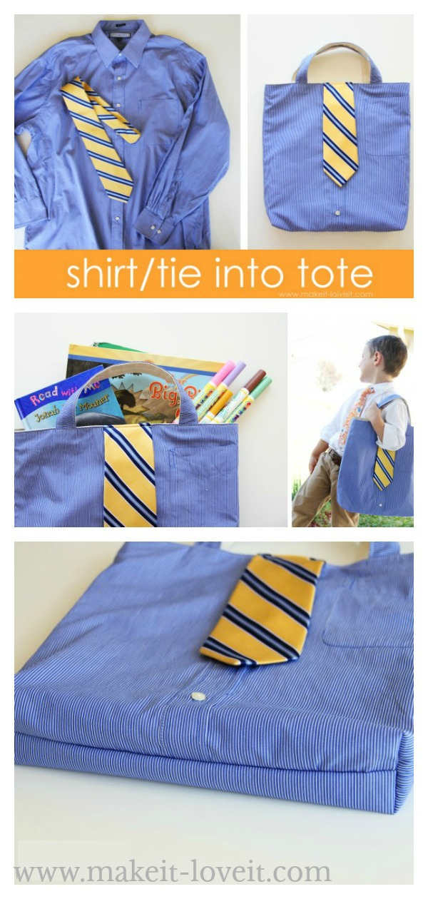 Shirt and Tie Upcycled to a Tote Bag Free Sewing Pattern