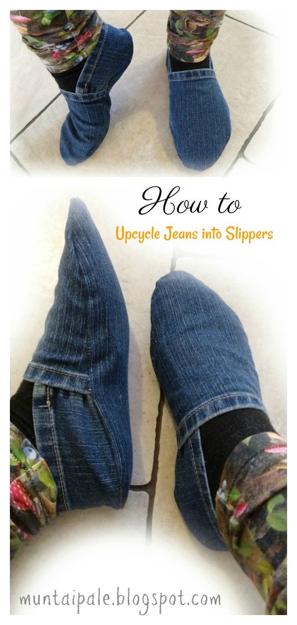 Upcycle Jeans into Slippers Free Sewing Pattern