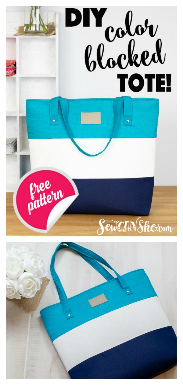 Big Color Blocked Tote Free Sewing Pattern