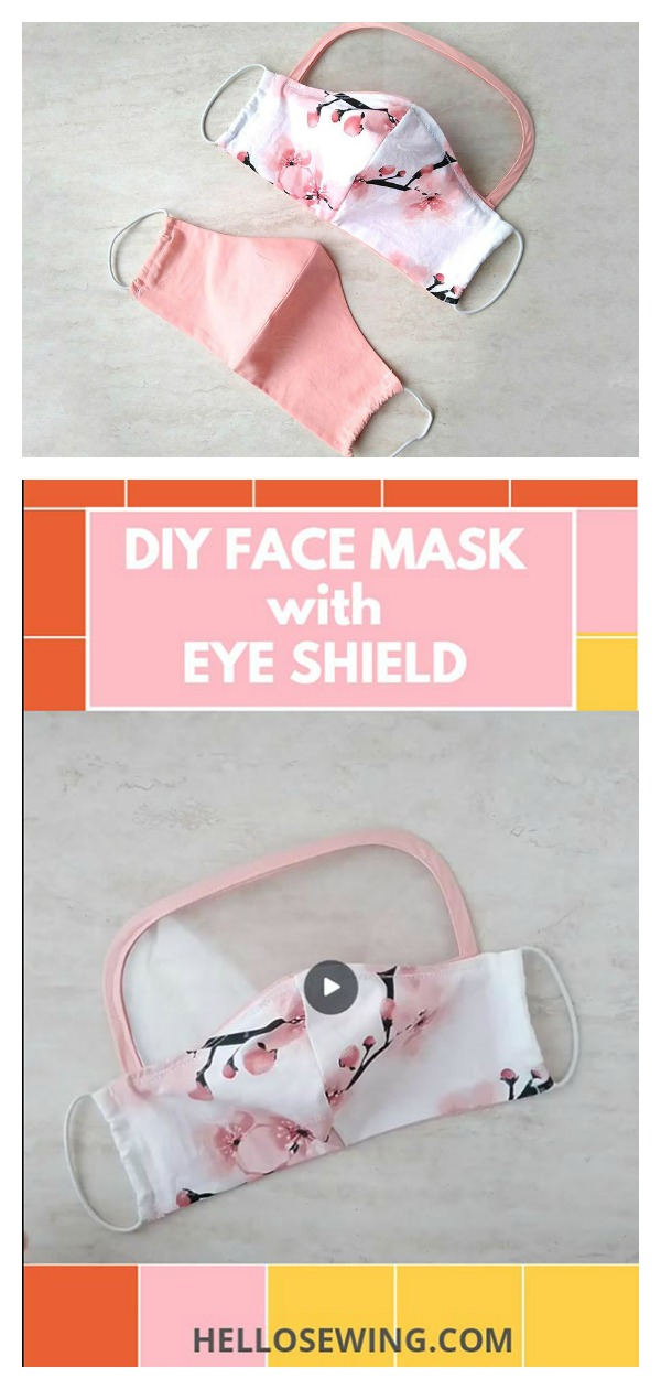 Face Mask with Eye Shield Protection Free Sewing Pattern and Video Tutorial