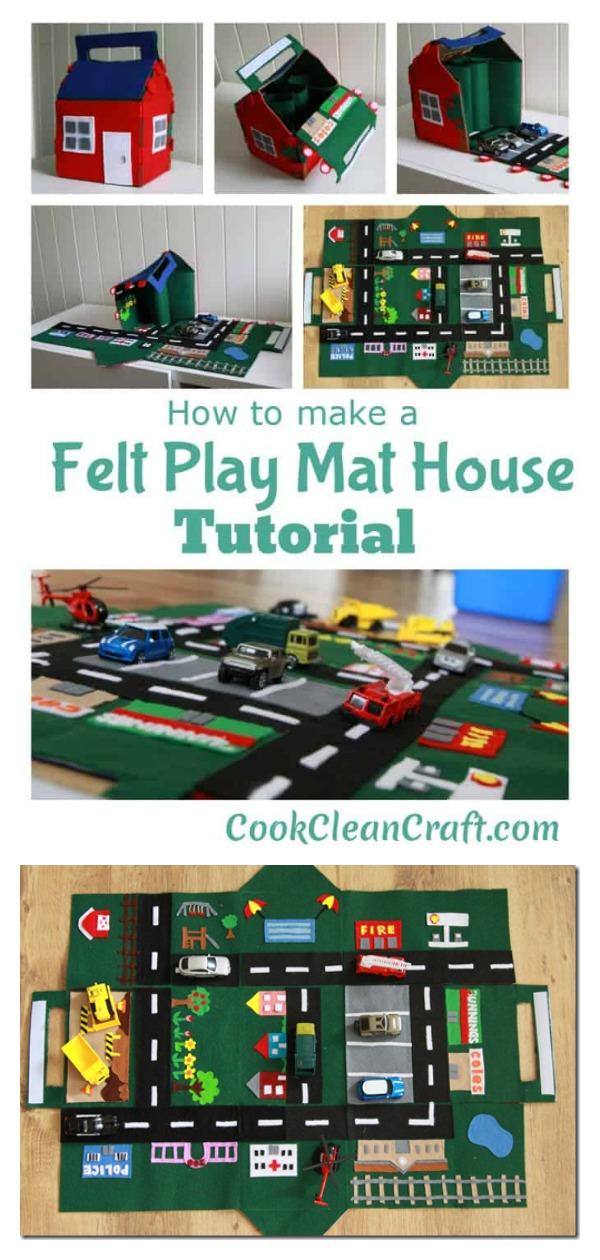 Felt Car Play Mat-House Free Sewing Pattern